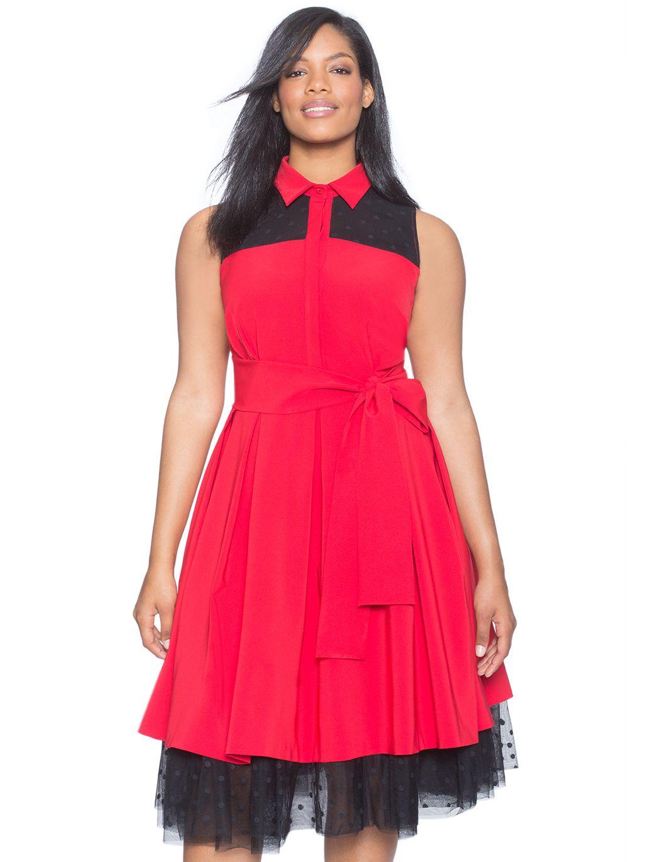 Studio Fit & Flare Dress with Polka Dot Mesh