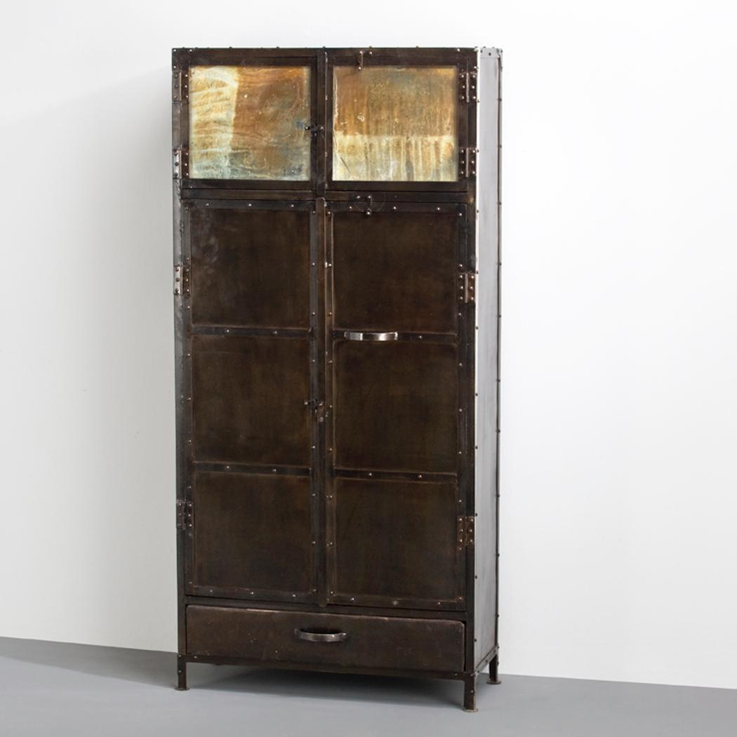 Armario vintage metalico con espejo envejecido demarques - Muebles de chapa metalica ...
