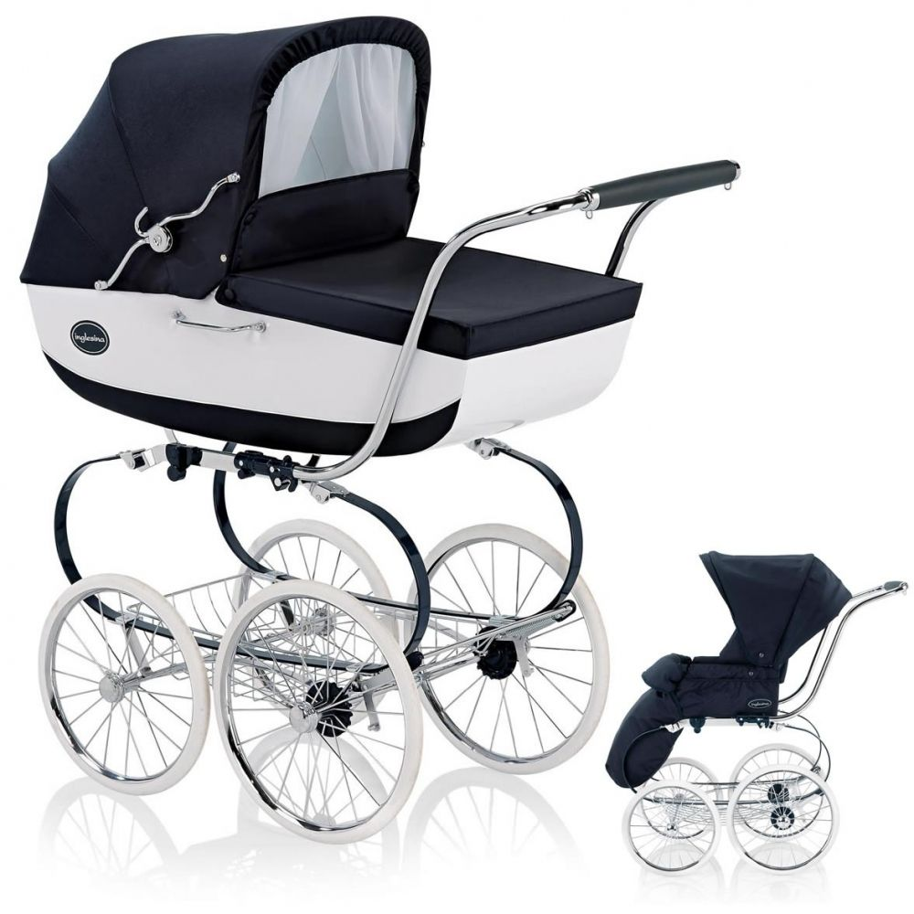 inglesina kinderwagen classica mit babywanne und sportwagenaufsatz vernice blau wei 2012. Black Bedroom Furniture Sets. Home Design Ideas