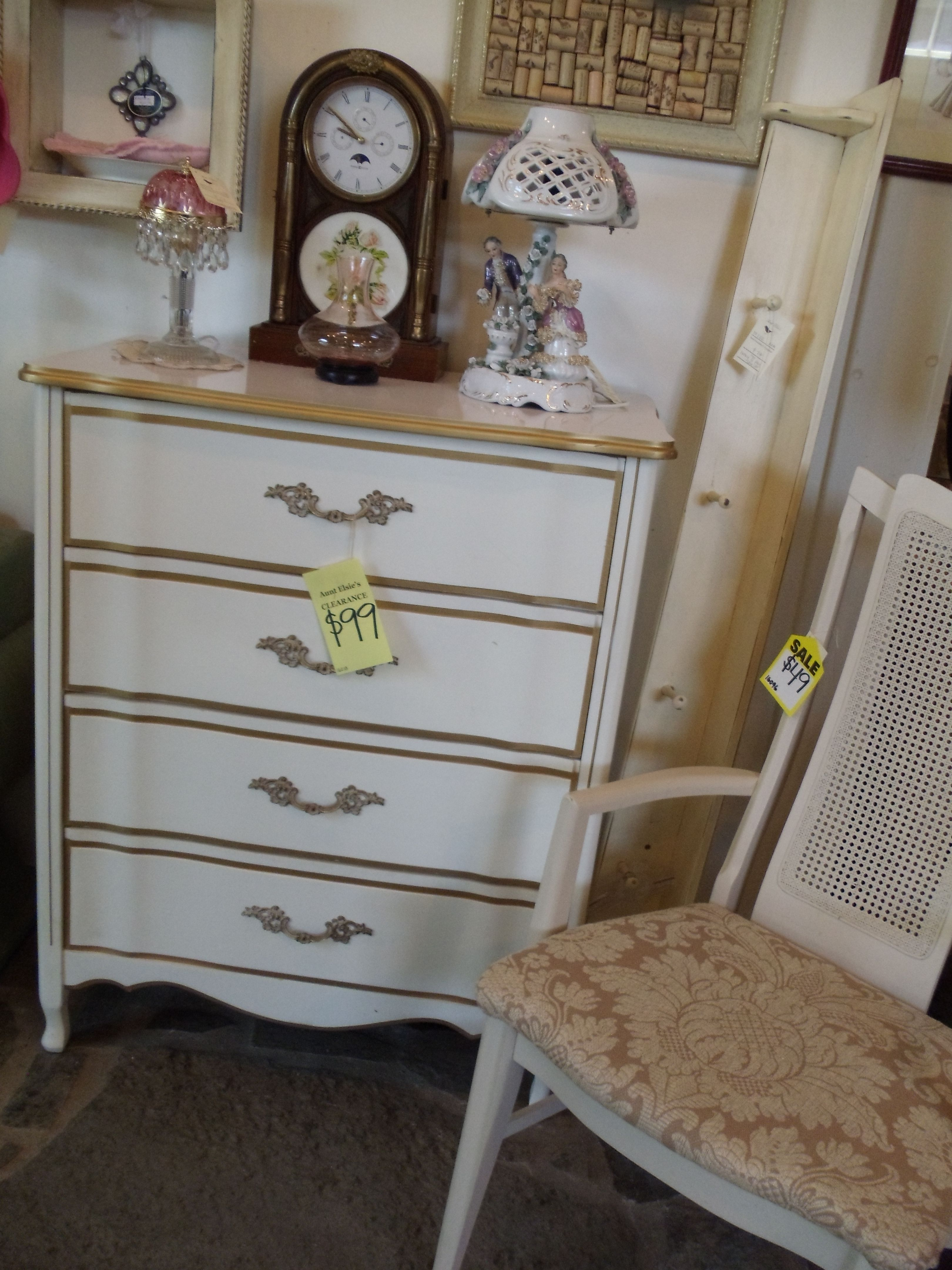 Vintage Cream With Gold Trim Dresser Perfect For A Shabby Bedroom
