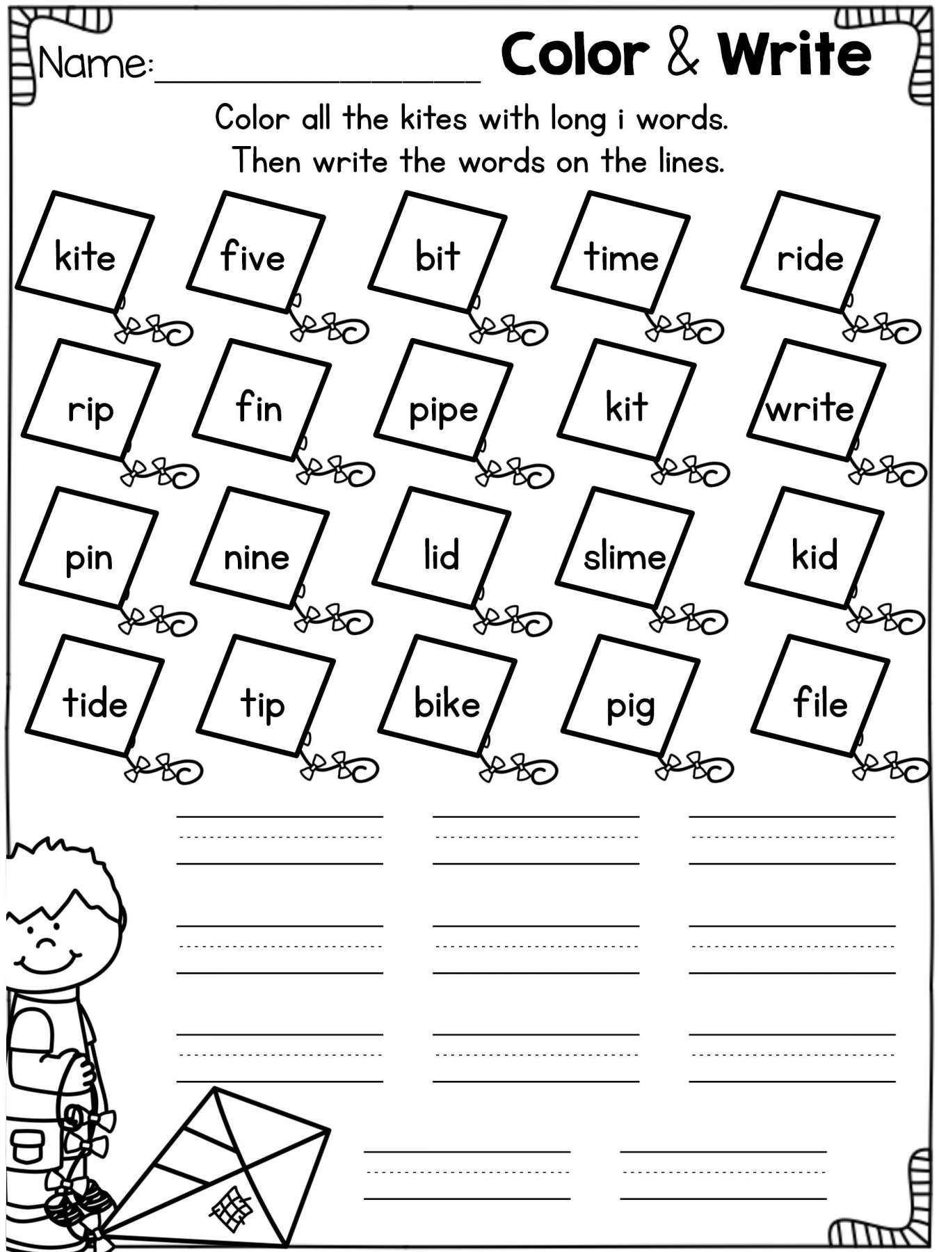 11 Long Vowel Worksheet For Kindergarten