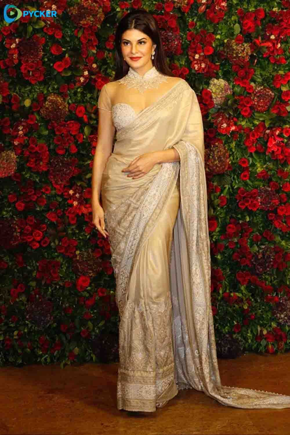 e0b7b9f82b Jacqueline Fernandez looks alluring in this silver designer saree   DeepVeerReception  Necklace  Saree  Designerwear  EmbroideryWork  Redlips   Lips