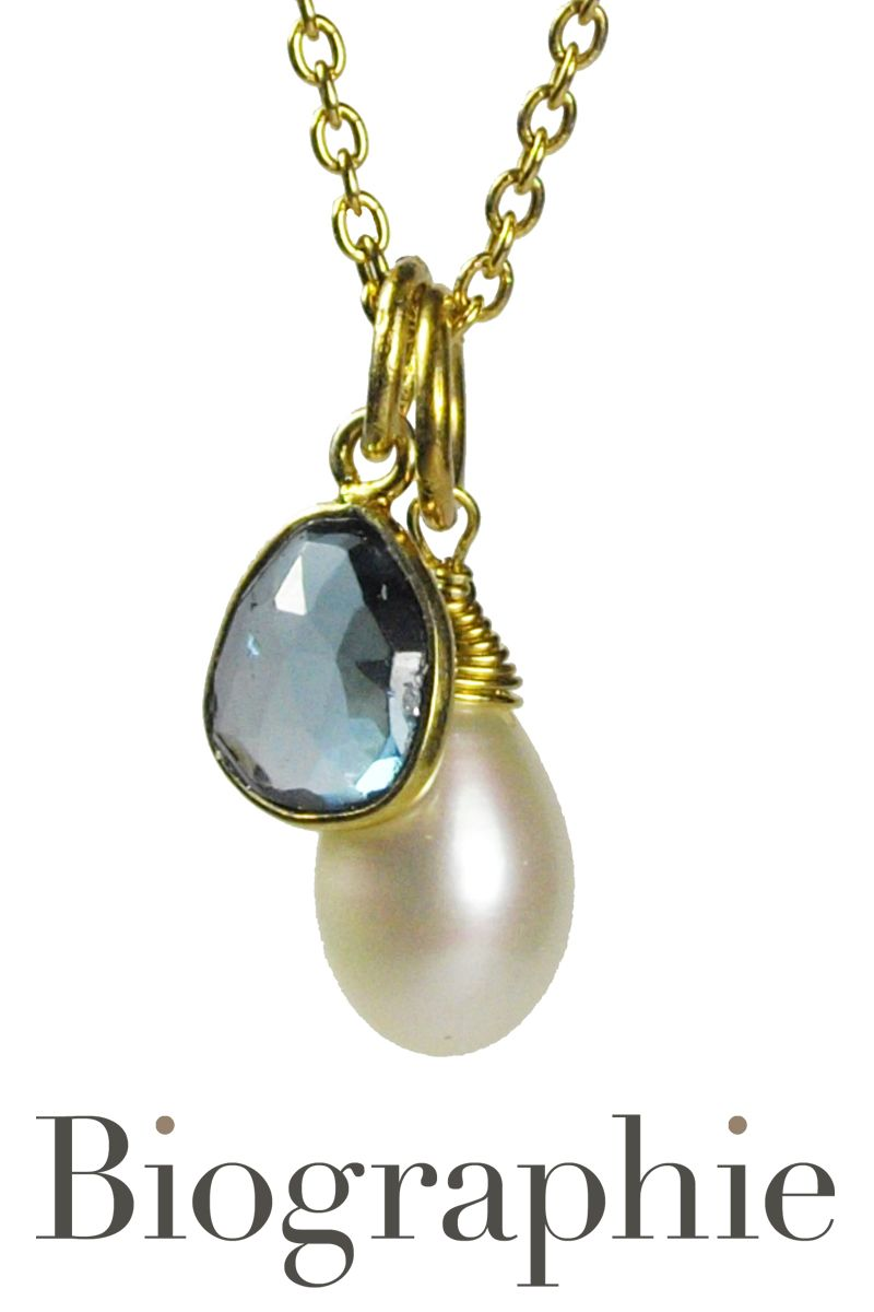London Blue Topaz & Pearl Pendant At Biographie