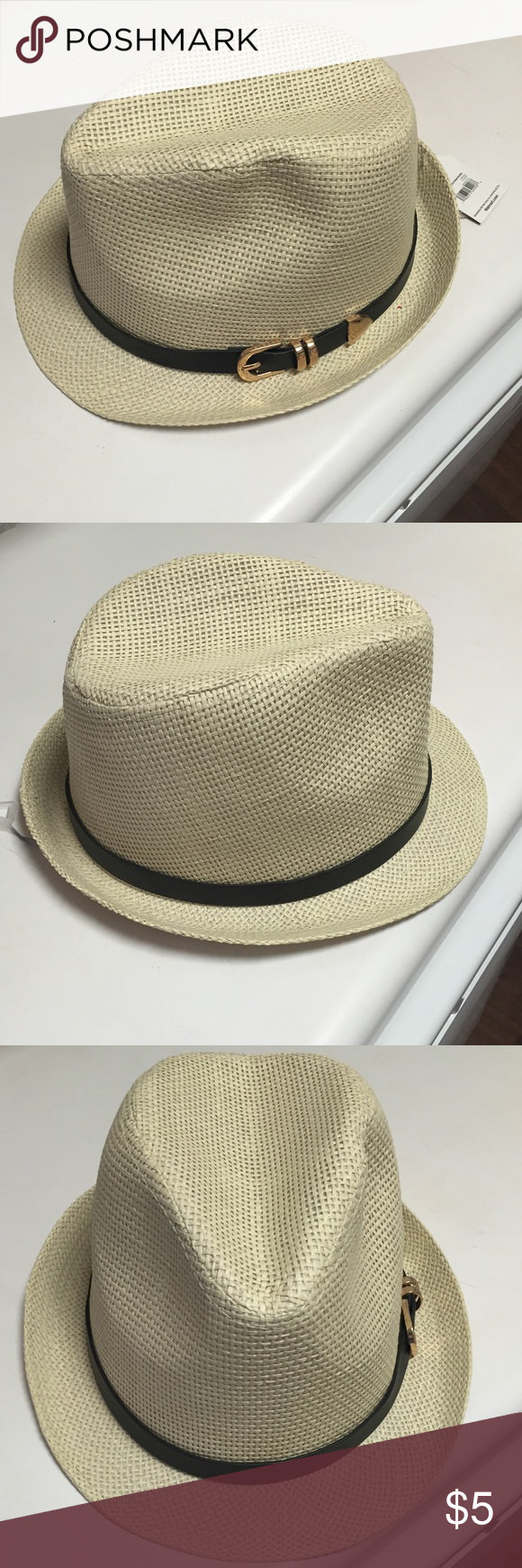 b4e434cce90d3 Women s Straw Fedora-new with tags Women s straw fedora hat. Hat has black  belt with gold buckle. Hat is brand new with tags. Design is great for  beach and ...