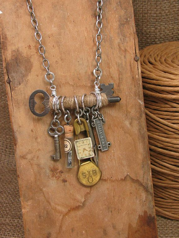 Upcycled Jewelry  Jute Wrapped Skeleton Key with Refound Objects Necklace Assemblage     is part of Vintage jewelry ideas, Upcycled vintage jewelry, Upcycled jewelry, Vintage jewelry art, Recycled jewelry, Key jewelry - Upcycled Jewelry Jute Wrapped Skeleton Key with by thekeyofa