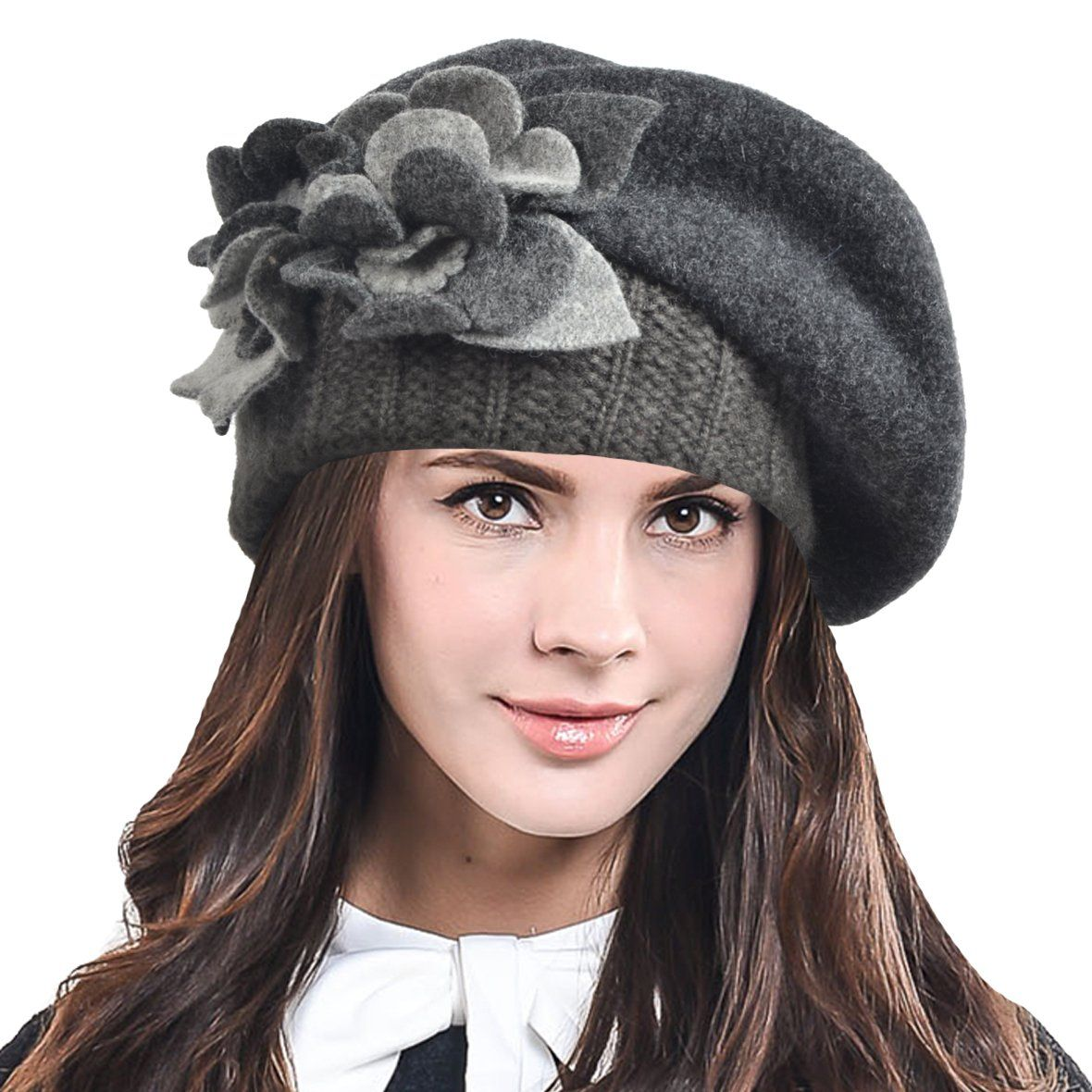 a92c05b3f70fc Geebro Womens Beret Hat Fashion Solid Black Wool Knitted Berets With Rhinestones  Ladies French Artist Knit ...