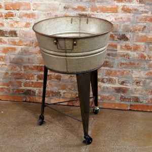 Round Metal Rolling Wash Tub On Stand So Cal Antiques Vintage Shabby Chic Find Us On Facebook Wash Tubs Metal Wash Tub Tubs For Sale