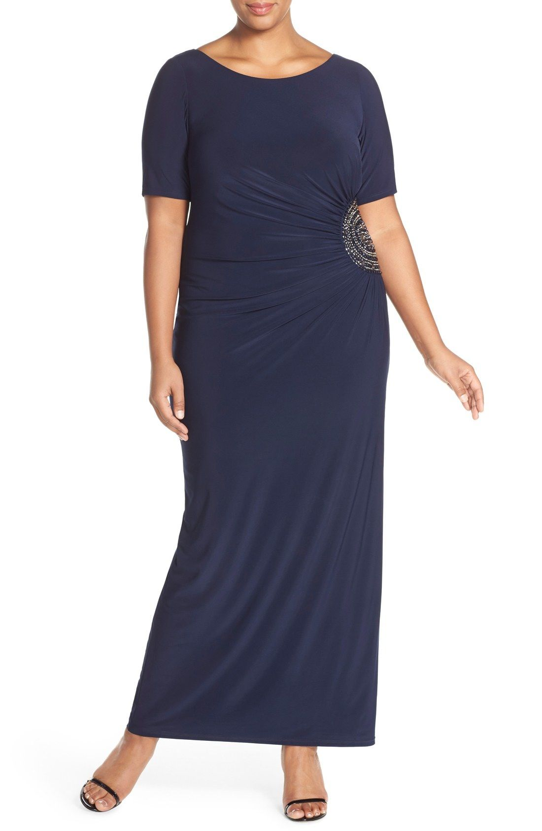 Xscape embellished side short sleeve jersey gown plus size