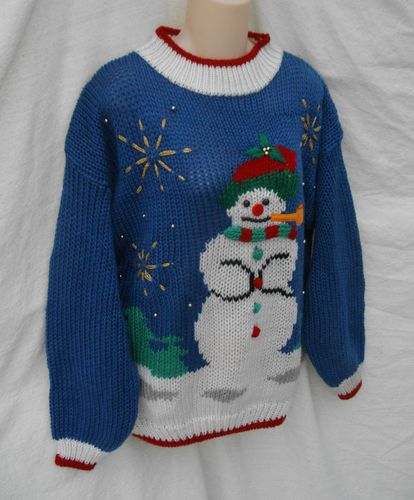 ugly tacky gaudy christmas holiday snowman sweater top womens 22 eve ltd