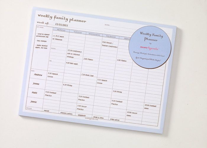 $17 Family Planner Pad - magnetic back by momAgenda Wife-ing - family agenda