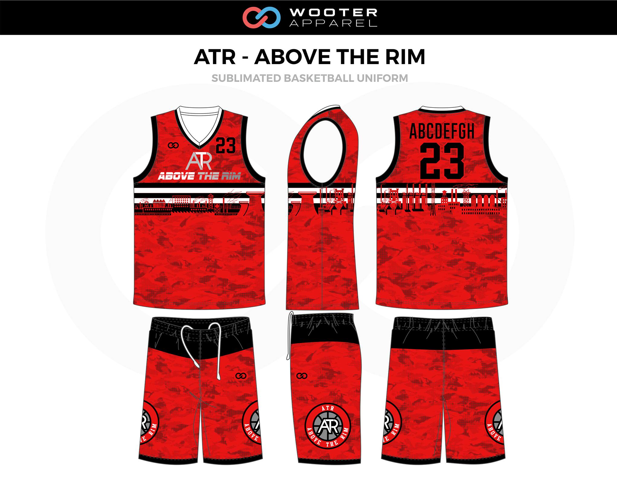 Atr Above The Rim Red Black White Gray Custom Basketball Uniform Jerseys Shorts Basketball Uniforms Design Jersey Design Basketball Uniforms