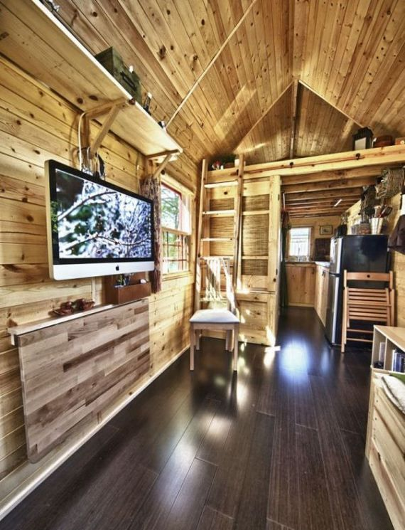 tiny house on wheels tiny house on wheels barnorama hanging tv and fold out - Tiny House Trailer Interior