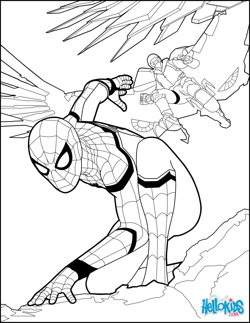 Spiderman coloring page from the new spiderman movie homecoming more spiderman coloring sheets on hellokids com