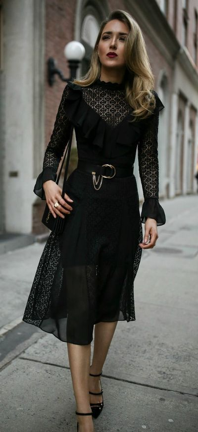 // black lace ruffled midi dress, black patent mary jane pumps, black waist belt with chain, black velvet shoulder bag, dark red lipstick {Temperly London, Chloe, Jimmy Choo, special occasion outfit, date night style, what to wear}