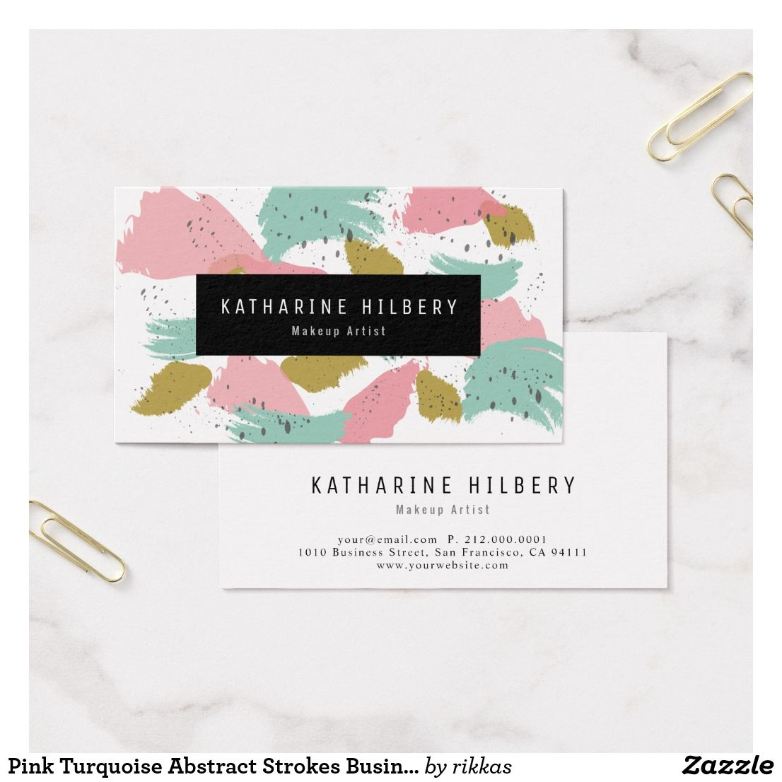 Pink Turquoise Abstract Painting Business Card Pink Turquoise