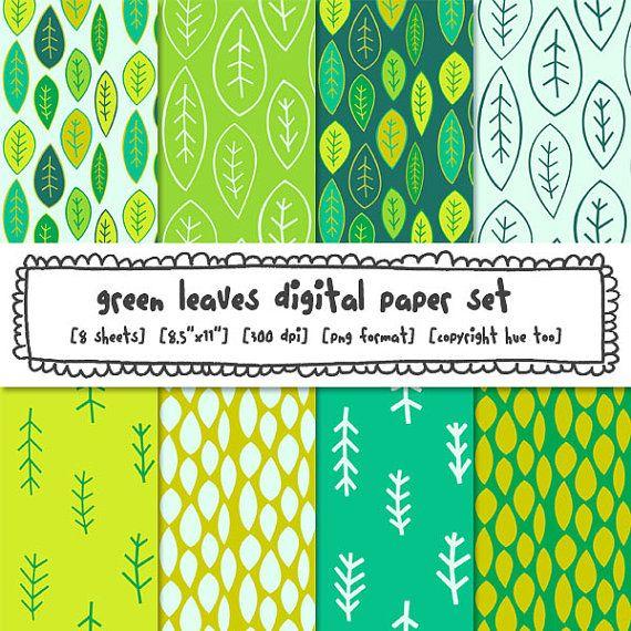 digital paper printable leaves paper green leaf patterned paper jungle theme instant download digital background papers 303