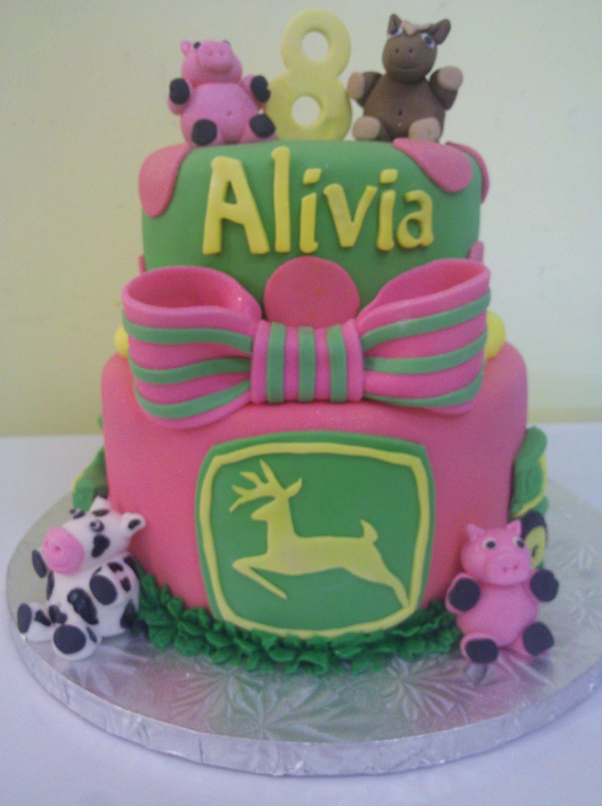 Pink Farm Animal Cake