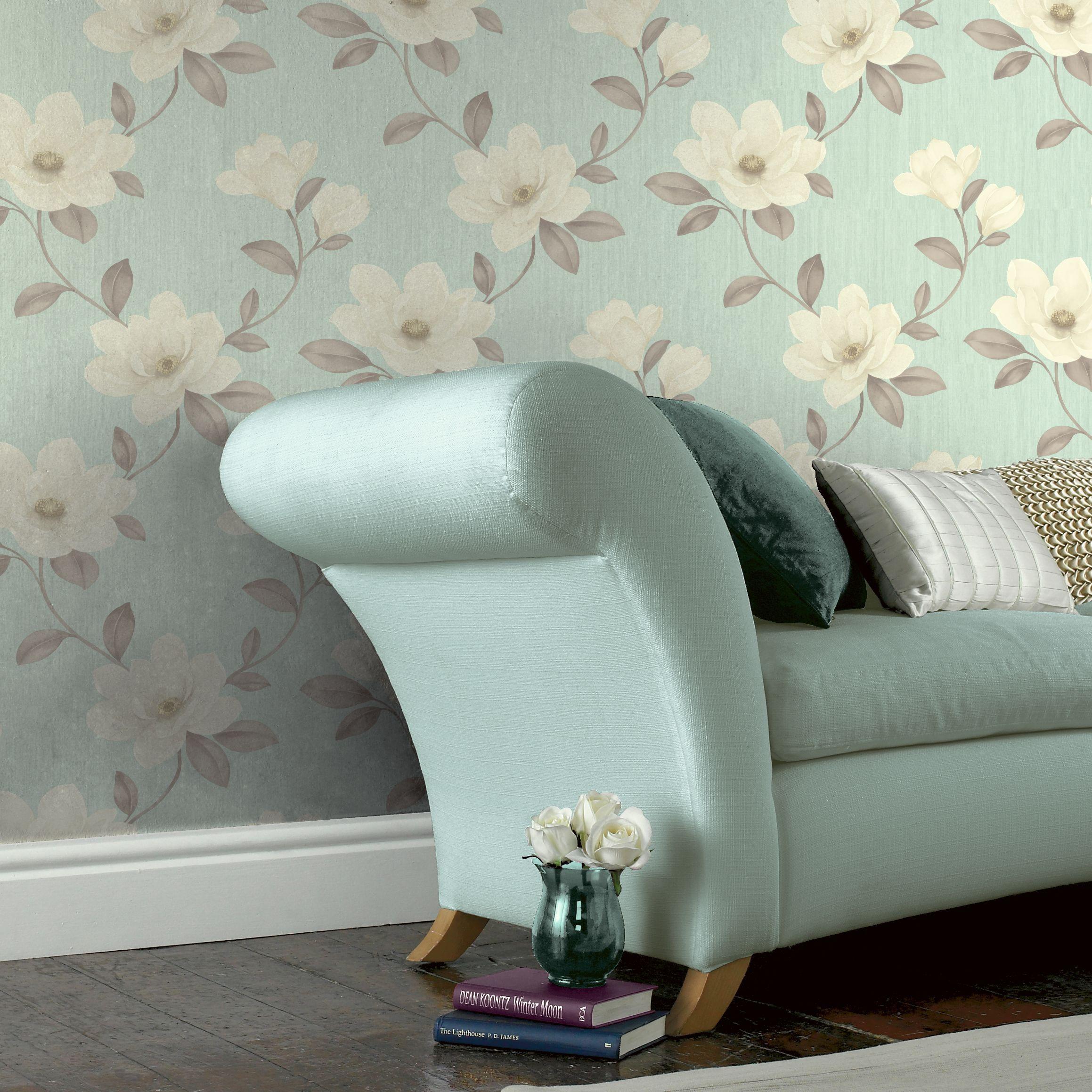 Sophie Conran Magnolia Blue Cream Floral Wallpaper