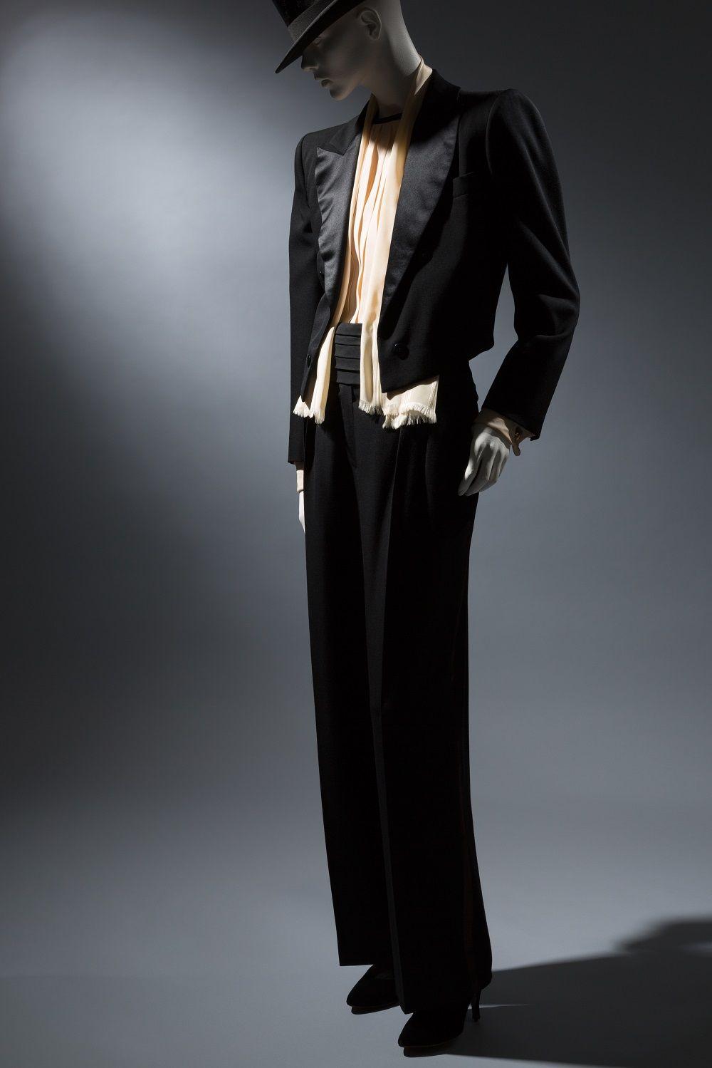 Saint Laurent Rive Gauche, smoking evening suit, c. 1982