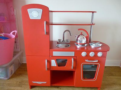 Details About Kidcraft Childrens Wooden Red Retro Kitchen Elc Role Play