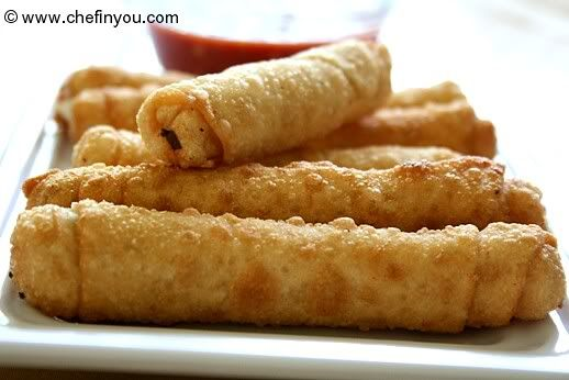 Easy Indian Cheese (Paneer) Snacks - Cigar Rolls Recipe