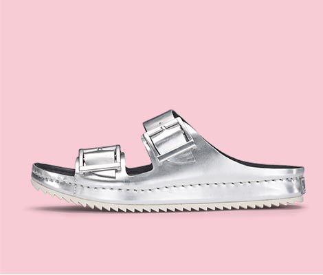8c373890d Silberne Sandalen in Premium-Leder mit topaktueller Riffel-Profilsohle