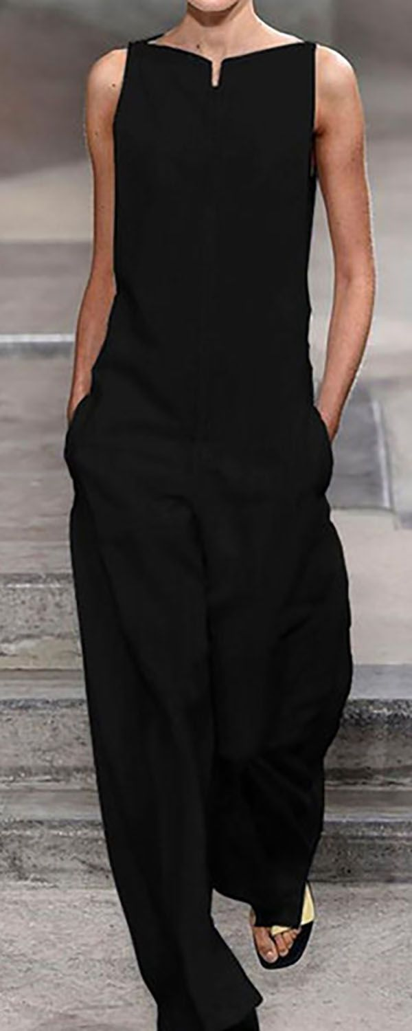 Shop now>>Pockets Solid Sleeveless Holiday Jumpsuits #holidayclothes