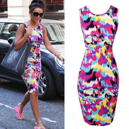 New Ladies Summer Midi Dress Slim Fit Pencil Bodycon PLUS SIZE S M L XL XXL #Unbranded #VestTopStrappyCami #Casual
