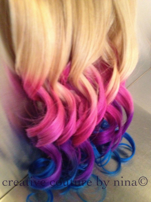"22""Ombre Hair,Tie dye Hair, Blonde Hair Extensions, Pink Ombre,Purple,Blue Vibrant Colors//(7) Pieces. $220.00, via Etsy."