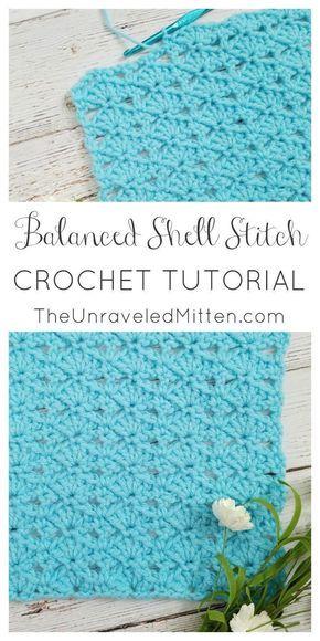Crochet Stitch Tutorial: Balanced Shell Stitch | Stoffe, Häkeln und ...