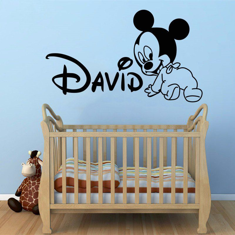 Baby Mickey Mouse Custom Name Wall Sticker