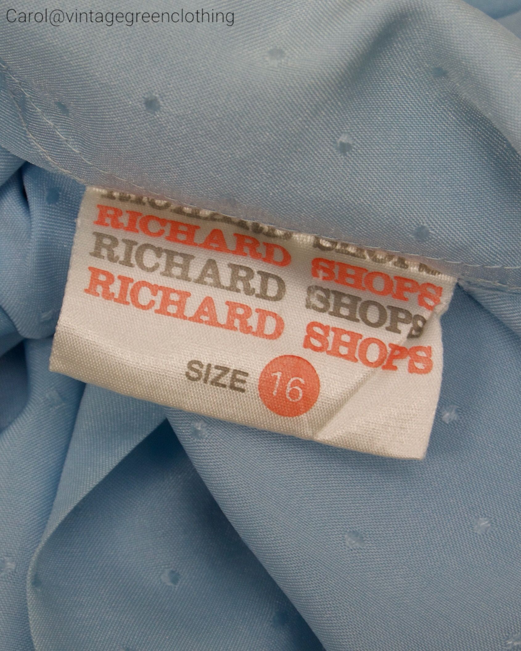 1970 S Garment Label From Uk Retailer Richard Shops Useful Aid To Dating Vintage Garments 70 S Brand 1970s Vintage Fashion Clothing Labels Fashion Typography