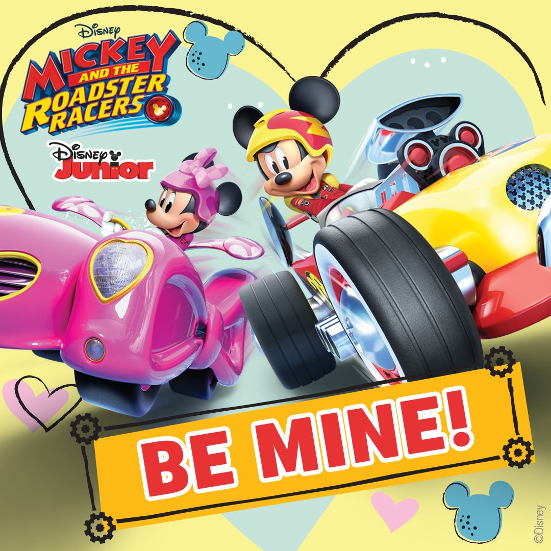 Download Your Mickey And The Roadster Racers Valentines Shareables Right Here Send A Little Love From Mick Disney Valentines Disney Junior Valentines Movies