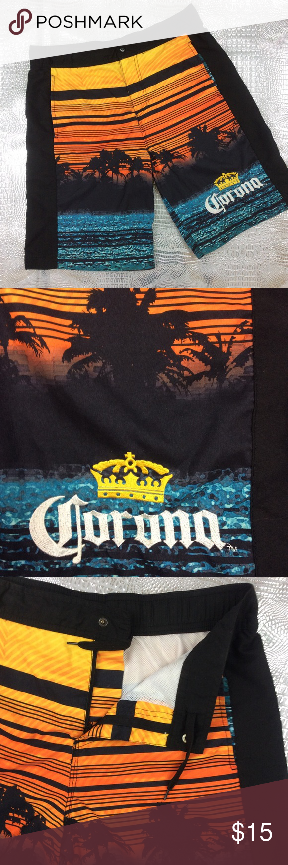 Men's Corona Board Short Very cool Sunset Bach Scene Corona