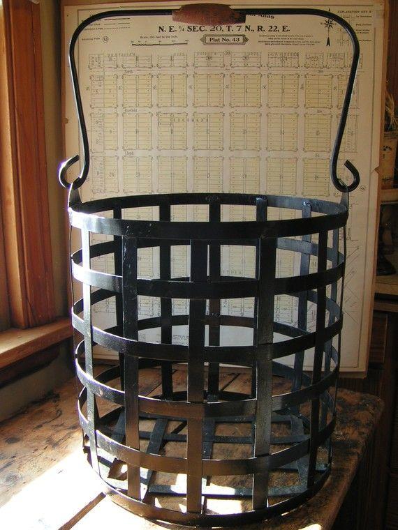 Vintage Metal Strap Basket Or Log Carrier Metal Log