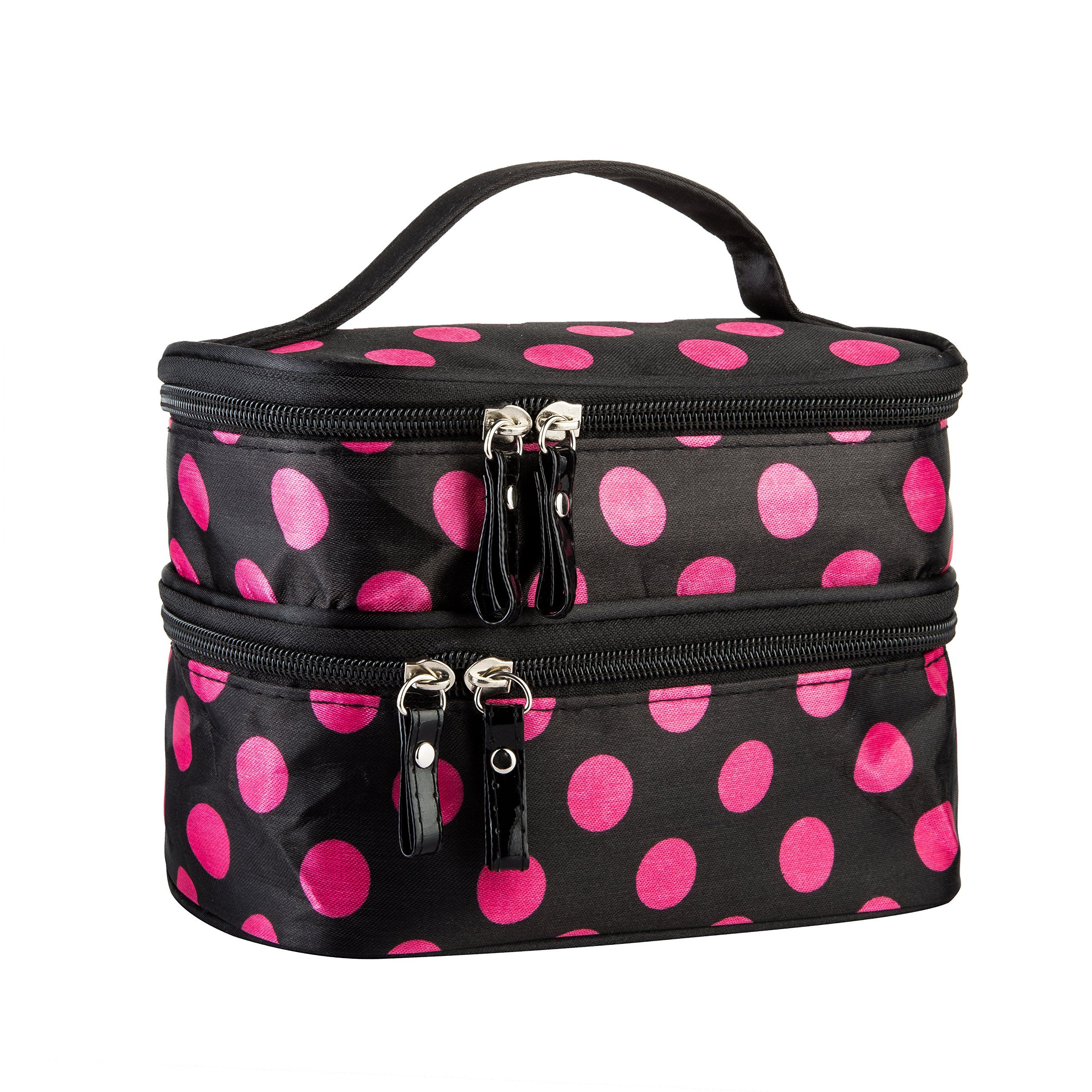c06fc8fc8009 Cosmetic Bag MakeUp Case Double Layer Dot Pattern Portable Waterproof Wear  Resistance Durable With 2 Zipper Holder With Mirror Travel Toiletry Bag  Organizer ...