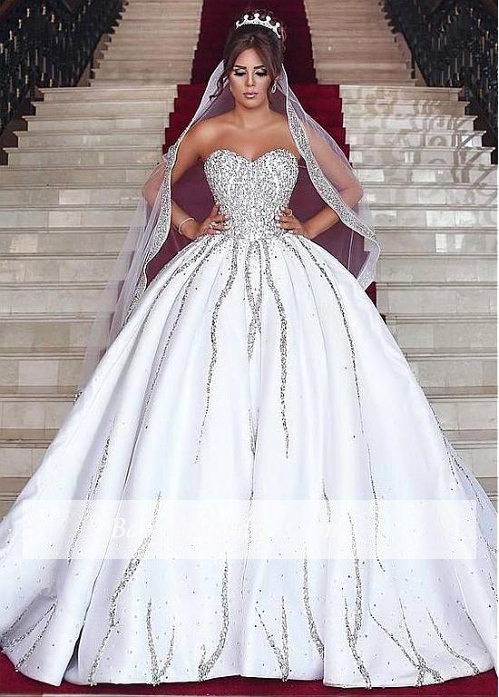Luxury Brautkleid mit Langer Schleppe Prinzessin Kristal Weiße ...