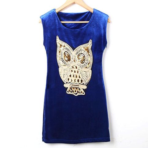 Price:$29.99 Color: Claret/Black/Blue Material: Velvet Punk Style Chic Paillette Owl Sleeveless Dress