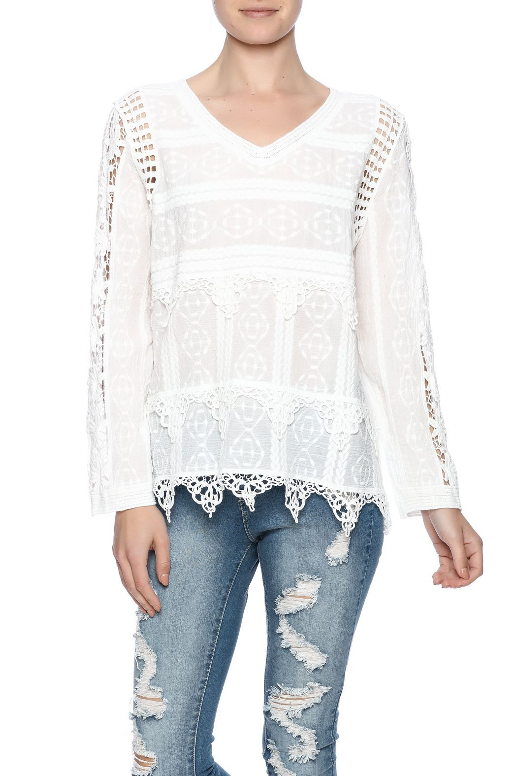 """Sweet white lace top with crocheted borders and sleeves. One size will fit Size Small - Size Medium.    Measures: 22"""" L   Lace Layer Top by Ottoman Imports. Clothing - Tops - Blouses & Shirts Clothing - Tops - Long Sleeve Kentucky"""