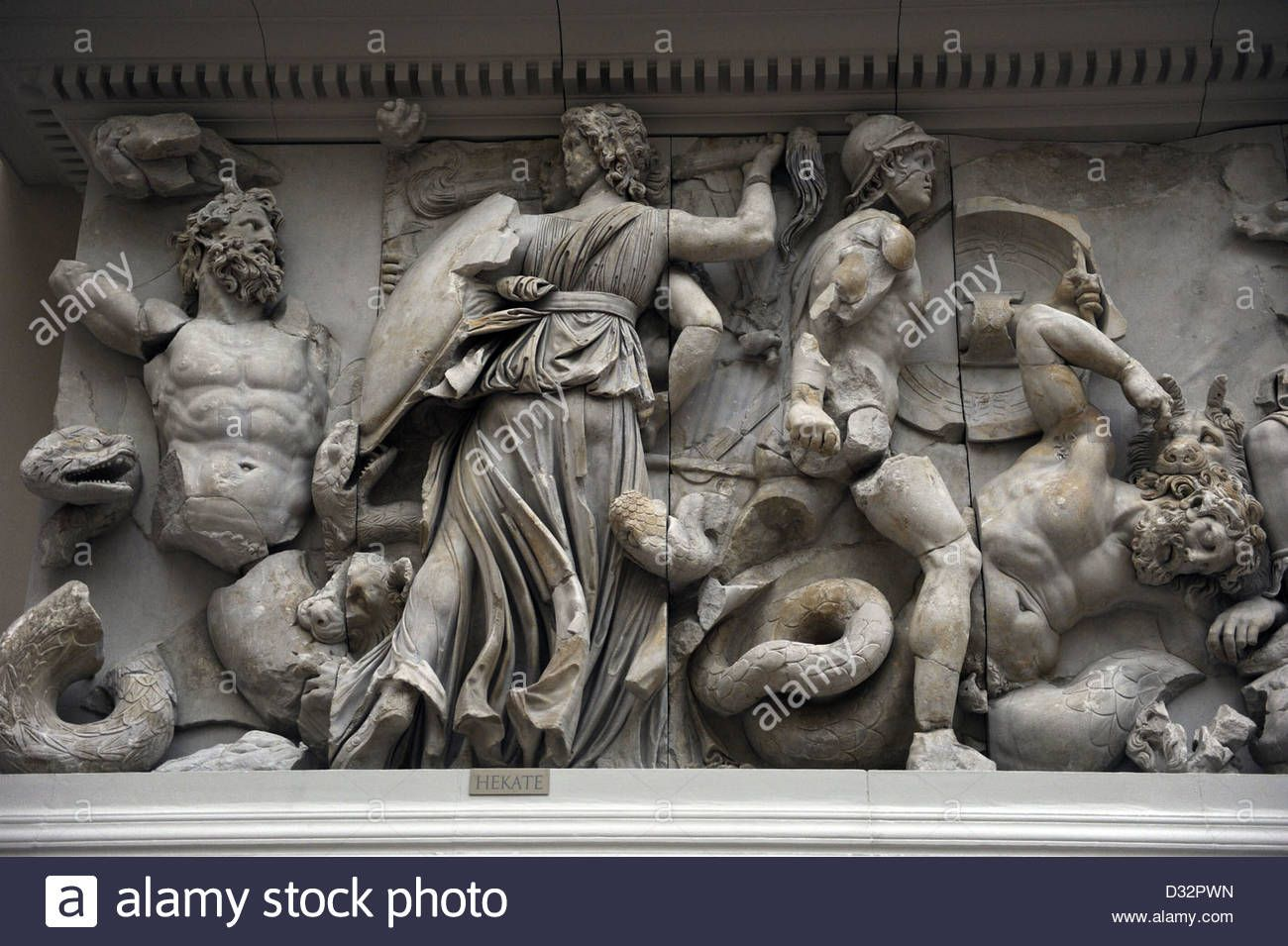 Pergamon Altar South Frieze The Three Faceted Goddess Hecate Fighting Against Klytios Pergamon Museum Berlin Pergamon Ancient Greek Art Pergamon Museum