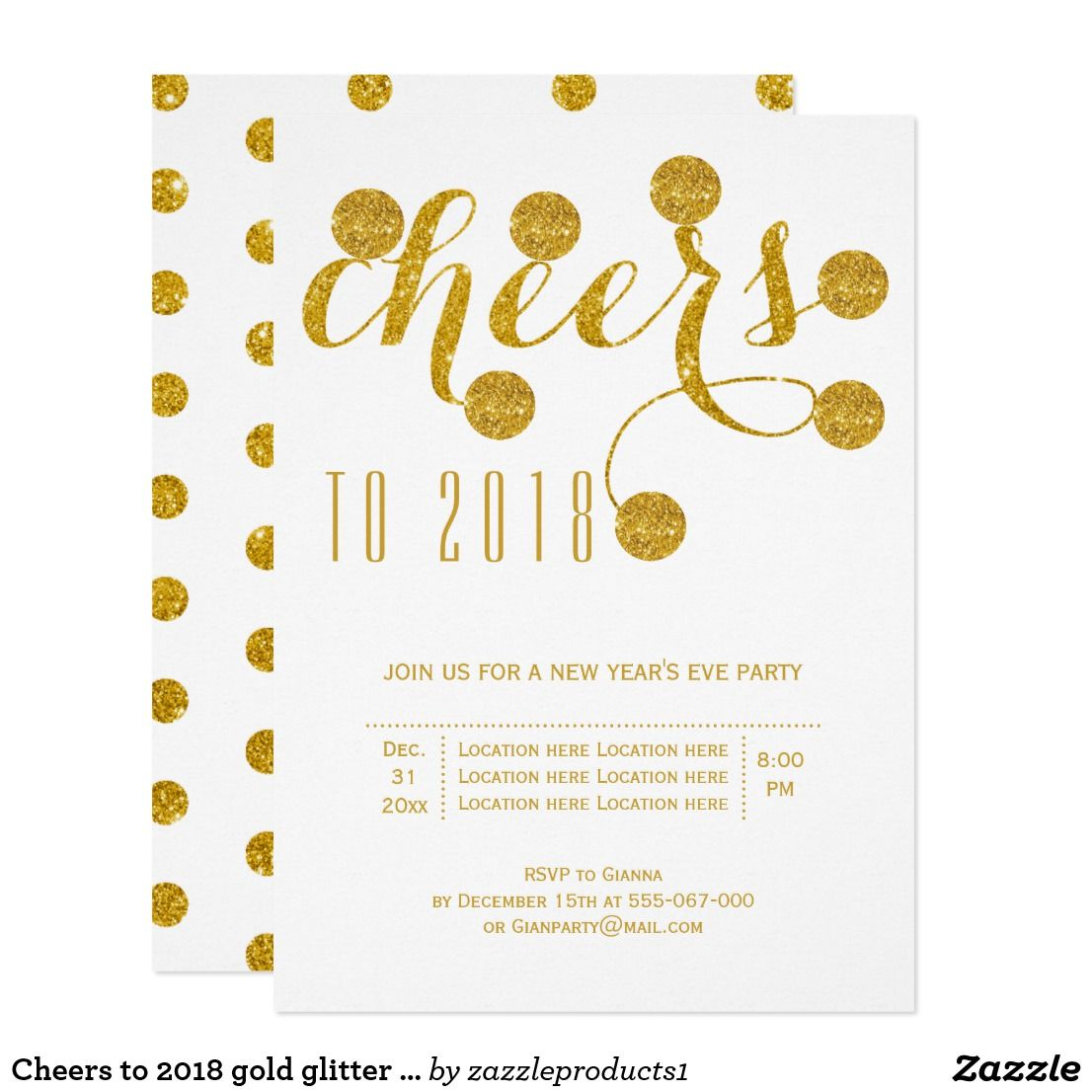 Cheers to 2018 gold glitter New Year\'s Eve party Card | Holidays ...