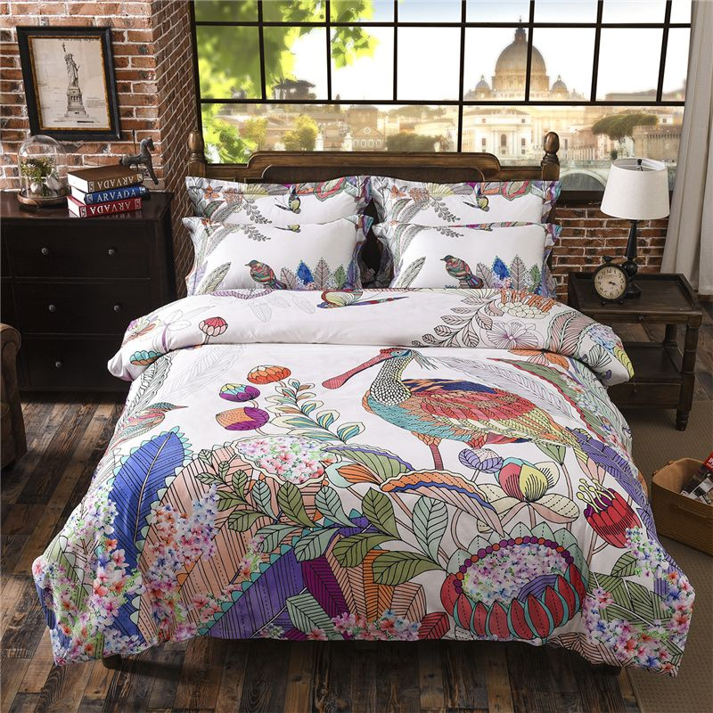 Egypt Cotton Tropical Style Bedding Set Soft Silky Bed Set Queen King Size  4pcs Digital HD