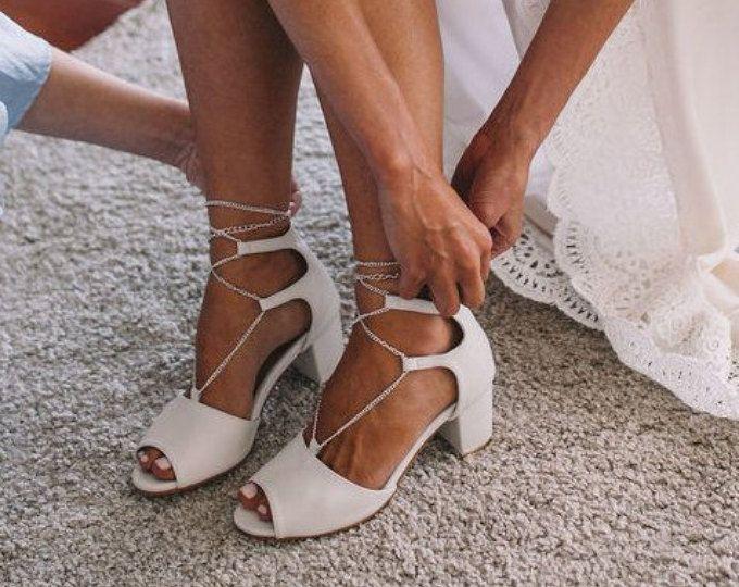 c6a2bd1c8037 Low heel Ivory Wedding shoes