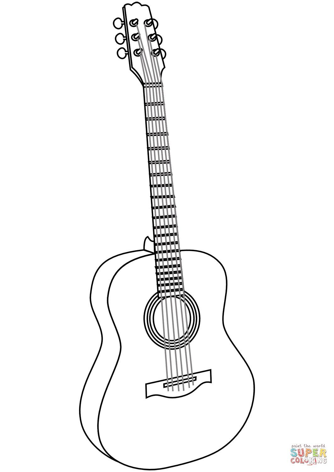 38 Coloring Page Guitar Guitar Drawing Coloring Pages Free Printable Coloring