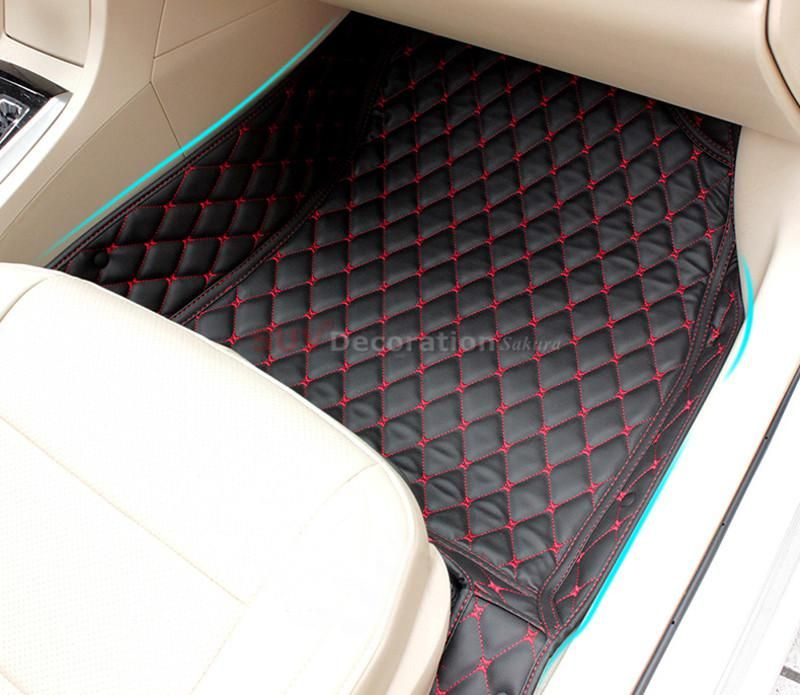 Custom Car Floor Mats for Subaru BRZ 2012-2017 Full Surrounded Waterproof Anti-Slip All Weather Protection Leather Material Car mat Carpet Liners Interior Accessories Black and Red