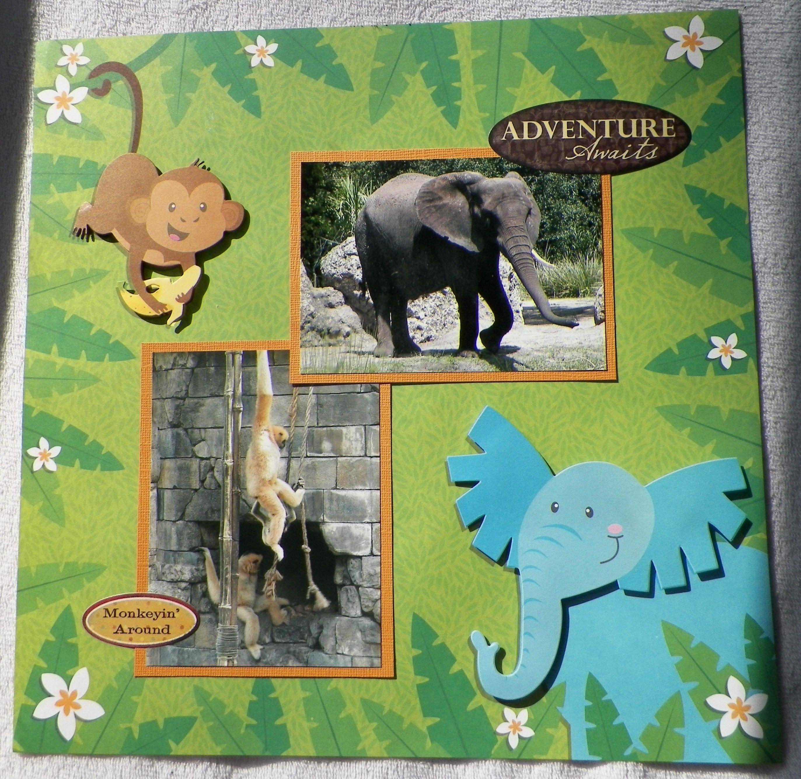 Scrapbook ideas zoo - Handmade Scrapbook Layout Elephant Monkeys Animal Kingdom Walt Disney World