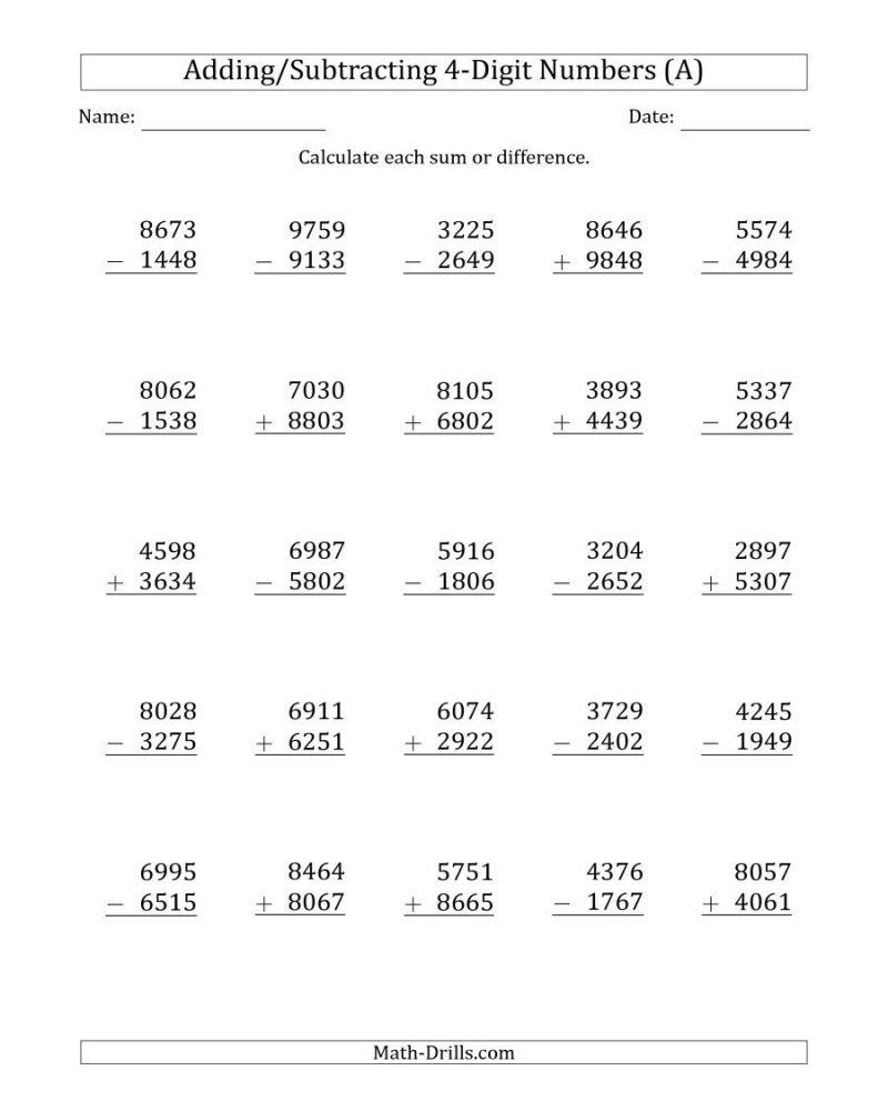 4 Digit Number Addition Worksheet Subtraction Across Zeros Addition Worksheets Math Fact Worksheets Math worksheets adding with carrying