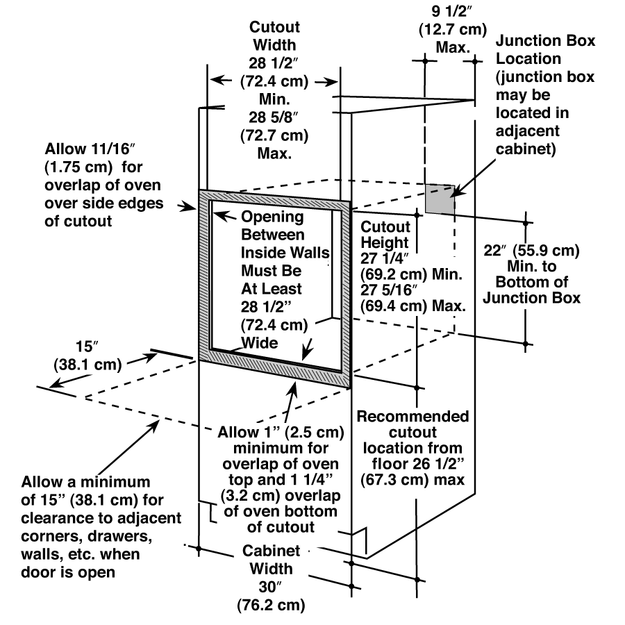 Double Wall Oven Cabinet Dimensions Dimensional Diagram Oven