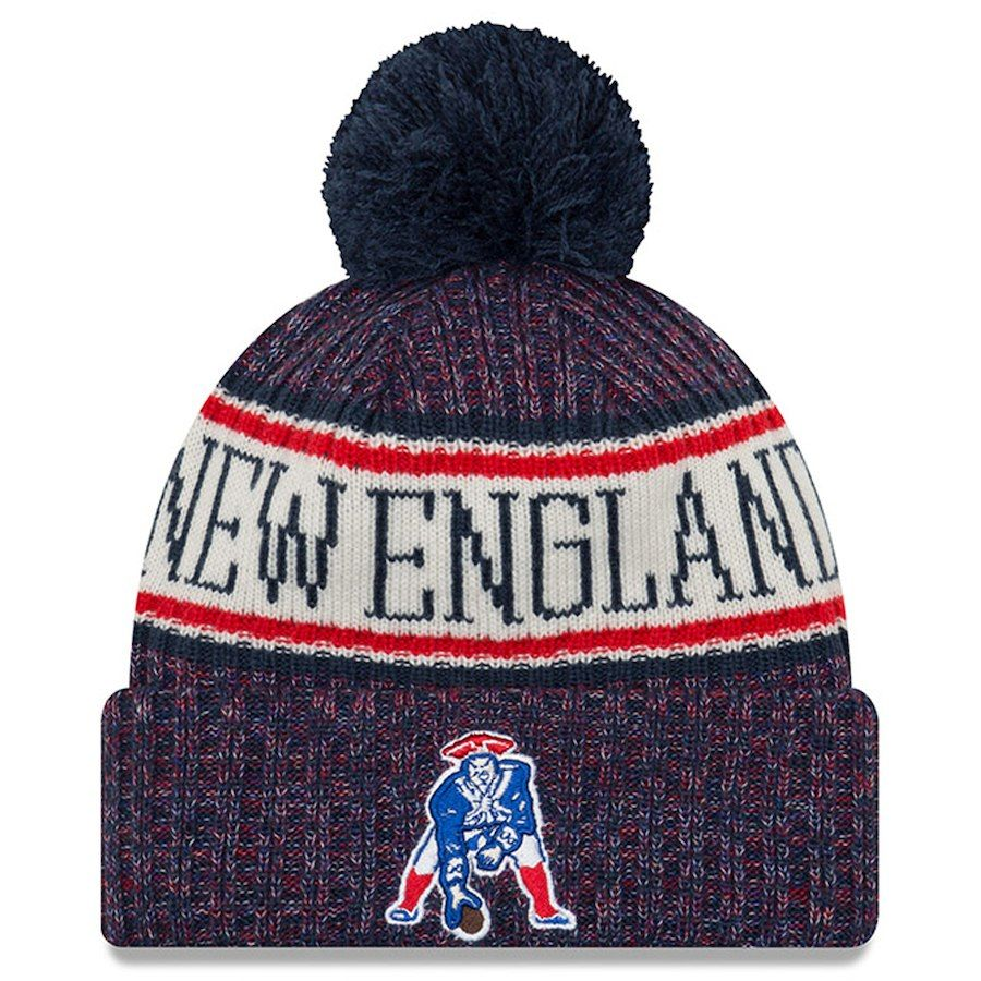 New England Patriots New Era 2018 Nfl Sideline Cold Weather Official Historic Sport Knit Hat Navy New England Patriots Apparel New England Patriots Patriots