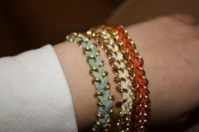 DIY Nordstrom Bracelets!  Looks easy & can use silver jump rings and custom colored cord...love this!